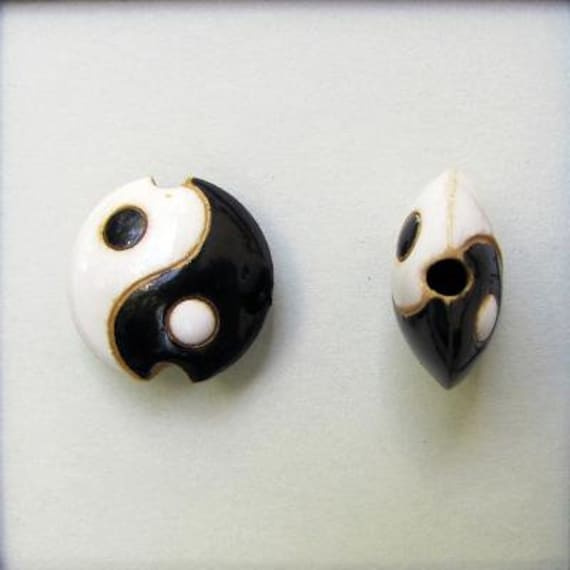 Black And White, Yin And Yang, Ceramic Lentil Bead, Small Hand Carved Lentil Bead, Golem Design Studio Beads