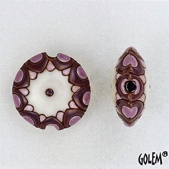 Shades Of Purple With White Sun Design Pendant Beads, Large Hole Beads For Kumihimo, Golem Beads