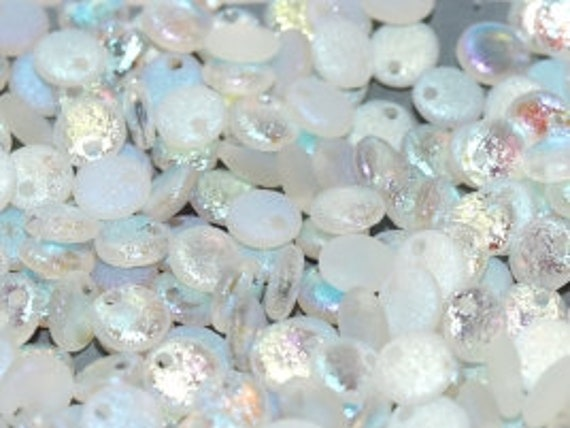6mm Etched Crystal Full AB Lentil Beads, Single Hole Top Drilled Lentil Beads, 50 Pieces