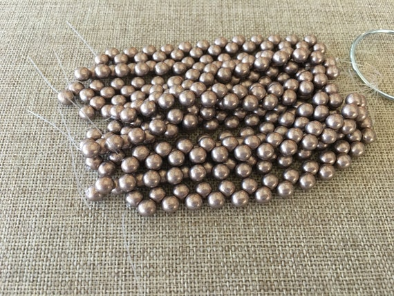 Saturated Metallic Hazelnut 6mm Top Hole Round Beads, Color Trends, 25 Beads Per Strand