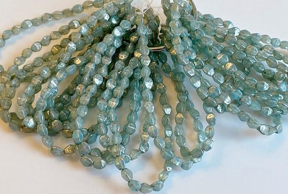 Pinch Beads, Powder Blue With a Mercury Finish, 5x3mm Pinch Beads, 30 Pinch Beads Per Strand