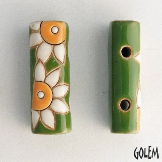 2-Hole Bead with White Flower with Orange Center on Green, Golem Design Studio Beads