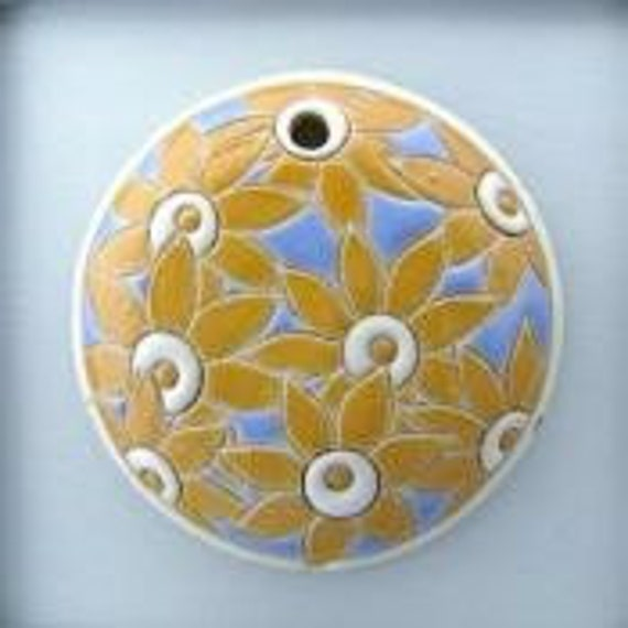 Bright Yellow Flowers On Light Blue, Round Ceramic Pendant Bead, Golem Design Studio Beads, 1.5 Inches Round