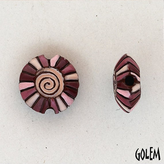 Pinks with Wine Colored Rainbow Spiral Lentil Bead, Hand Carved And Hand Glazed Beads, Golem Beads, Large Hole Beads For Kumihimo