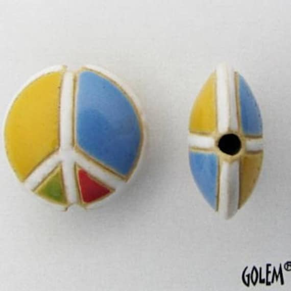 Peace Sign Bead, Multi Colored Peace Sign, Artisan Focal Bead Grouping, Golem Design Studio Beads