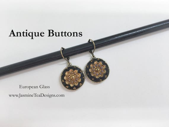 Antique Button Earrings Made From European Glass, Antique Brass Button Earrings, Black With Antique Gold Patina Button Earrings