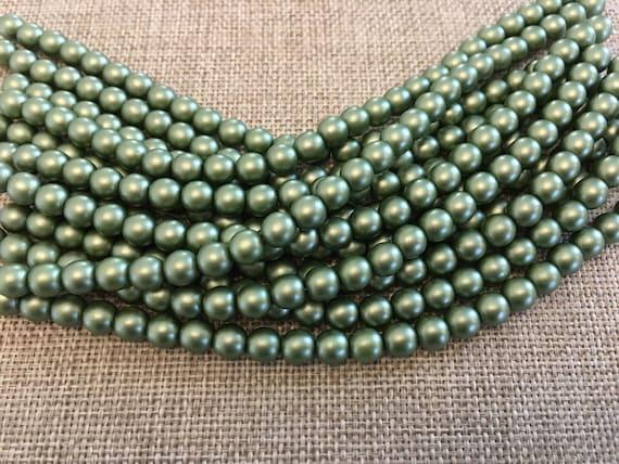 Olive 6mm Glass Pearls, 25 Pearls Per Strand, Matte Finish