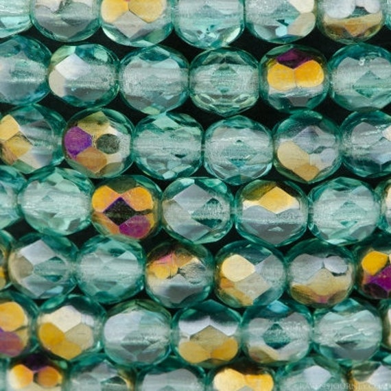 Aqua Blue Transparent With Celsian Finish, Fire Polish Beads, Round Faceted 4mm Fire Polish Beads, 50 Beads Per Strand