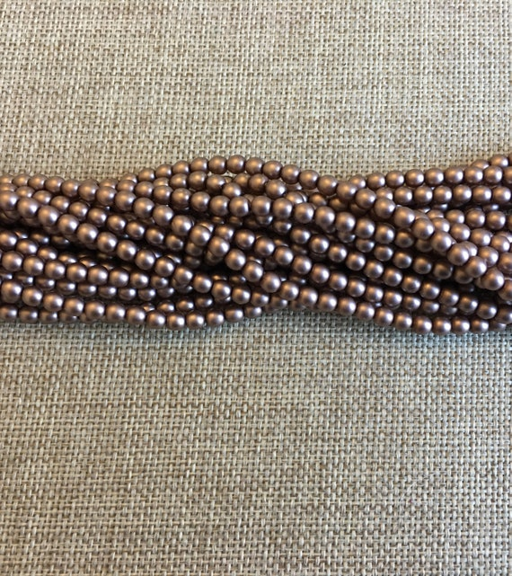 Taupe Satin 4mm Glass Pearls, 120 Pearls Per Strand