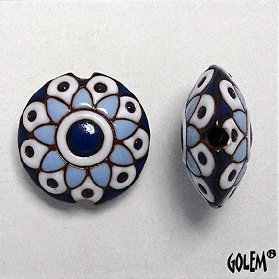 Blue And White Paisley Flower Lentil Bead, Pendant Bead, Golem Design Studio Beads, Large Hole Beads For Kumihimo