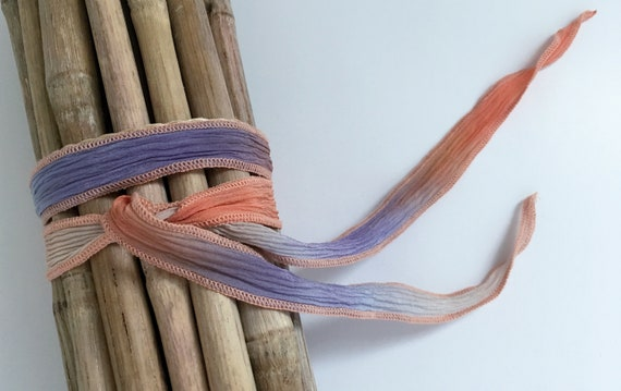 Peach Blanket Bingo, Hand-Dyed Silk Ribbon, Handmade Silk Ribbons, Fiber Artist Silk Ribbons
