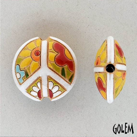 Flower Power With White Ceramic Peace Sign Bead, Artisan Focal Bead Grouping, Golem Design Studio Beads
