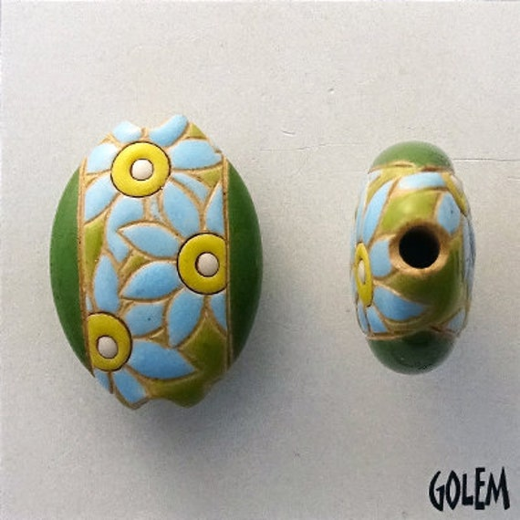 Blue Flower Pendant Bead, Almond Shaped Bead, Hand Glazed, Hand Carved, Pendant Beads, Golem Design Studio