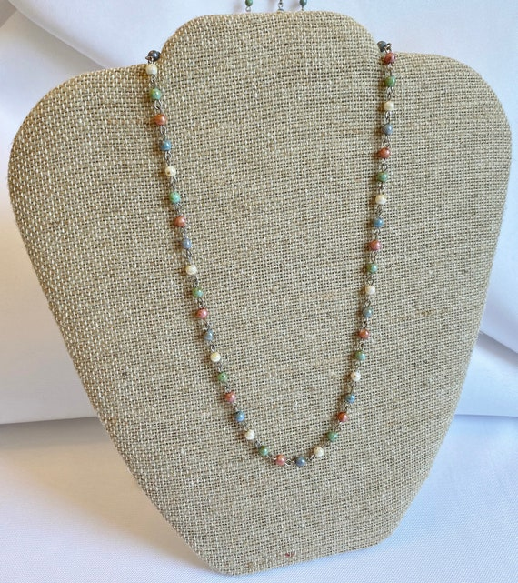 Czech Glass Beaded Chain Necklaces, Travertine Luster Druk Beads Blue, Rose,Turquoise and Ivory on Silver Plated Chain