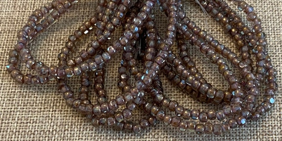 Tan and Mulberry with a Brass Finish 3-Cut Matubo Fire Polish Beads, 3x4mm, 50 Beads Per Strand, 1mm Center Hole, Trica Beads