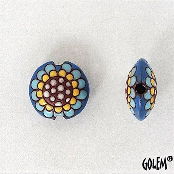 Blue Paisley Flower, Ceramic Lentil Bead, Small Hand Carved Lentil Bead, Golem Design Studio Beads
