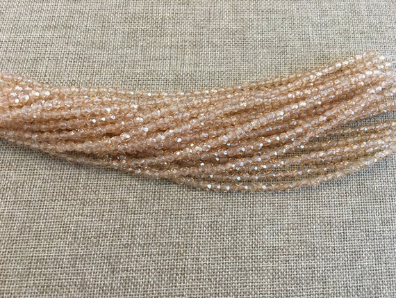 Luster Transparent Champagne Fire Polish Beads, Round Faceted 4mm Fire Polish Beads, 50 Beads Per Strand