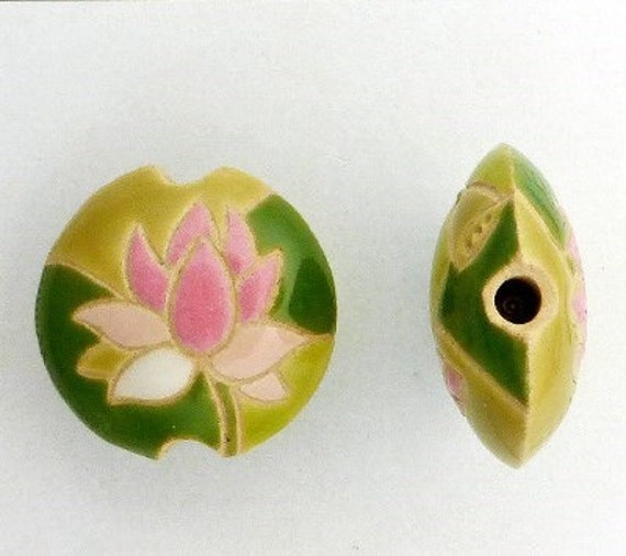Pink Lotus Flowers, Lentil Round Pendant, Pink Lotus with Pods and Various Shades of Green Foliage,  Focal Bead, Golem Studio Designs