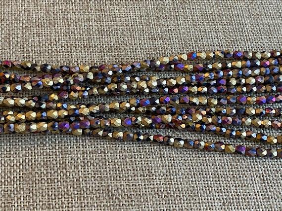 California Violet Matte 4mm Fire Polish Beads, Faceted 4mm Fire Polish Beads, 40 Beads Per Strand
