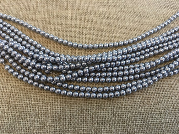 Grey Alabaster Pearls 4mm Glass Pearls, Light Gray Shiny 4mm Alabaster Pearls, 120 Pearls Per Strand