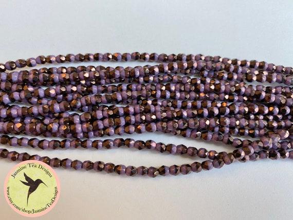 Duet Purple Vega 4mm Fire Polish Beads, Faceted 4mm Fire Polish Beads, 40 Beads Per Strand