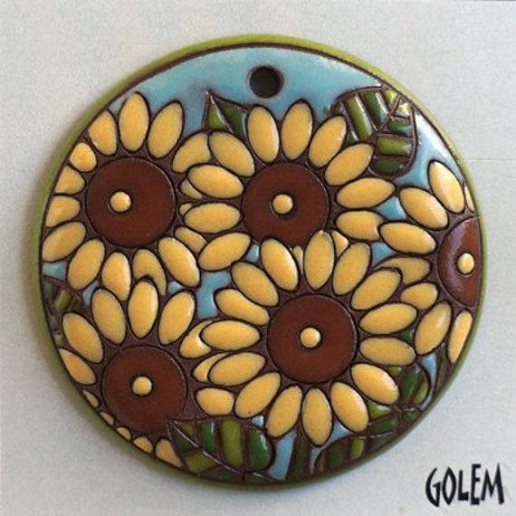 Sunflower Pendant, Large Round Sunflower Pendant, Carved Sunflowers on Terracotta, Sunflower Pendant