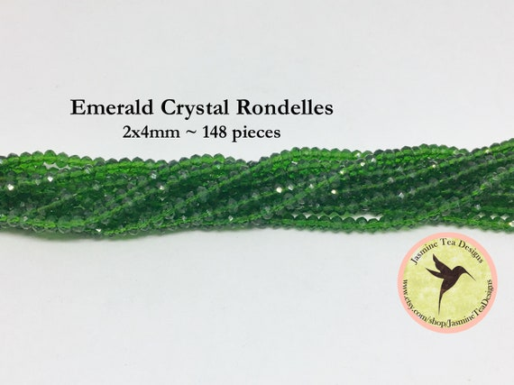 Emerald 2x4mm Crystal Rondelles, 148 Chinese Crystals Per Strand