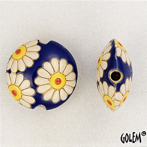 White Daisies on a Deep Blue Background Lentil Bead, Focal Bead, Large Hole Beads for Kumihimo