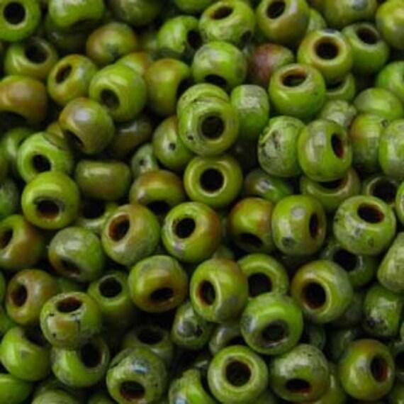 Miyuki Size 8 Chartreuse Matte Picasso, Size 8 Round, Miyuki Seed Beads, 5 Inch Tubes, 22 Grams