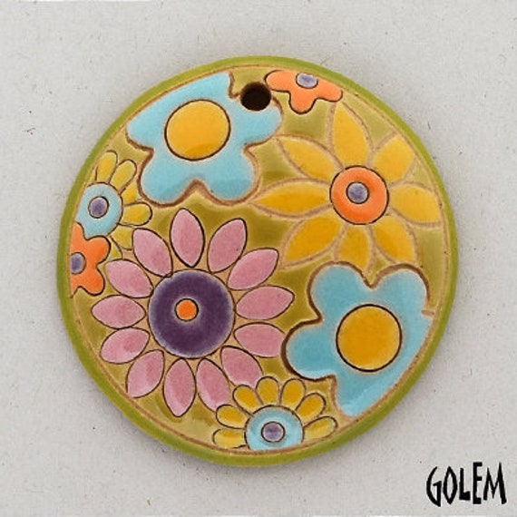 Brightly Mixed Flower Bouquet Pendant, Round Domed Ceramic Pendant Bead, Golem Design Studio Beads, 1.5 Inches Round