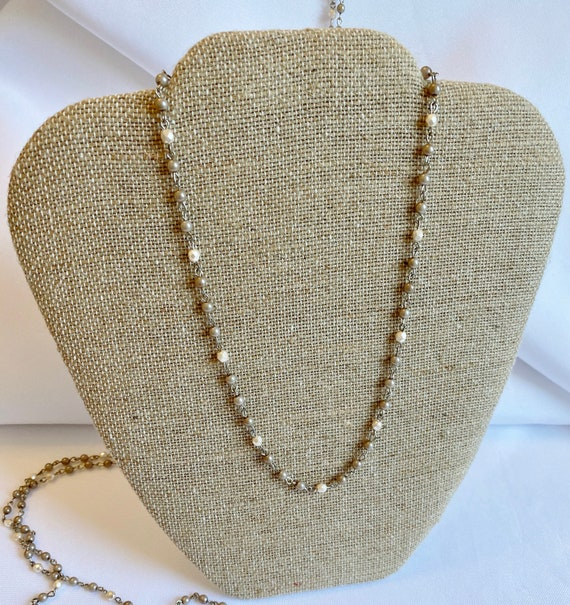 Czech Glass Beaded Chain Necklaces, Cream Fire Polish and Satin Taupe Alabaster Pearls on Silver Plated Chain