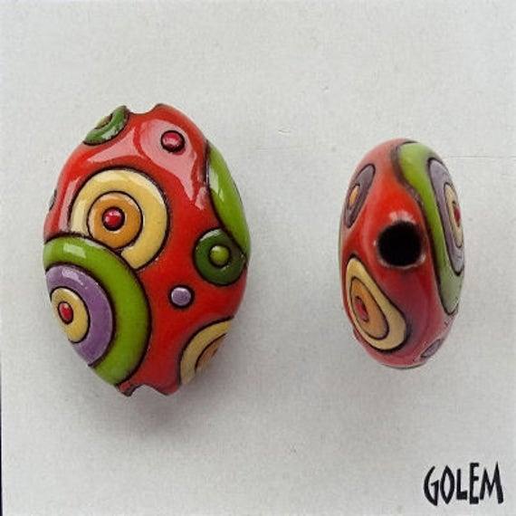 Glazed Circles, Terracotta Circle Beads, Bright Colored Almond Shaped Bead, Brightly Glazed Pendant Beads, Golem Design Studio