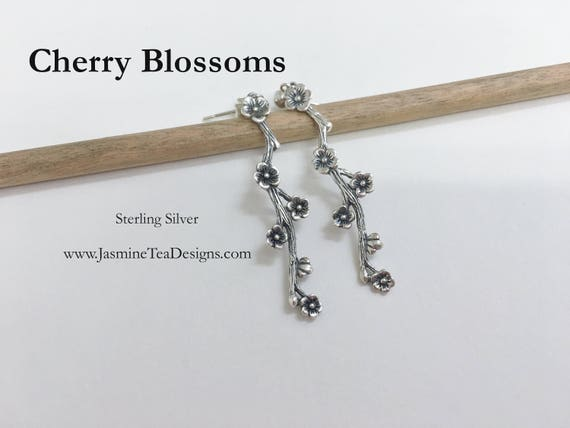 Cherry Blossom Earrings, Sterling Silver Cherry Blossom Post Earrings, Sterling Silver Ball Post Earrings
