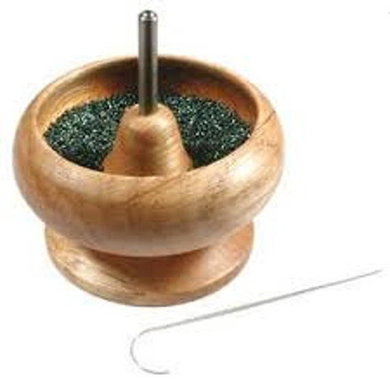Spin And String Mini Bead Stringing Tool, Wooden Bead Spinner With Needle, Only One Per Order Allowed