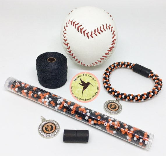 Play Ball, Baseball Kumihimo Kit, SF Giants Seed Bead Color Mix, Size 8, Black Magnetic Clasp, SF Giants Charm And Black S Lon Included