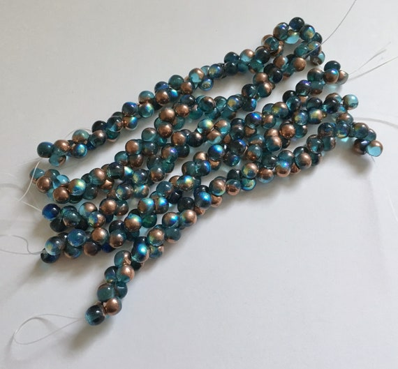 Aqua Copper Rainbow 6x5mm Mushroom Beads, Beads Used In Copperline Beaded Kumihimo Necklace, 50 Beads Per Strand