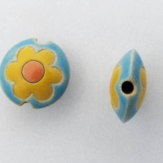 Yellow Flower with Orange Center on a Turquoise Back Ground Bead, Terracotta Lentil Bead, Large Hole Beads, Golem Beads