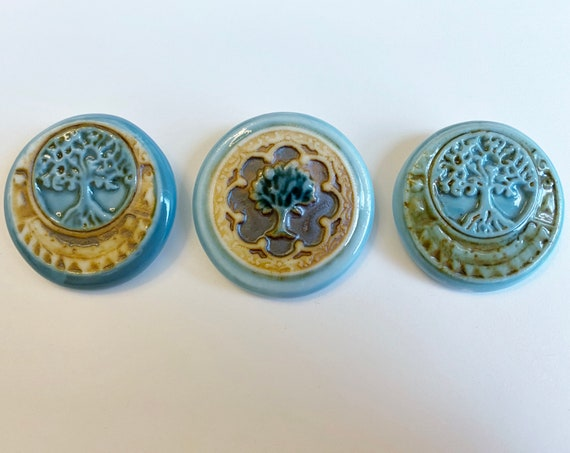Tree of Life Porcelain Round Pendant, High Fired Porcelain Round Pendants, Tree of Life, Turquoise and Brown Glaze