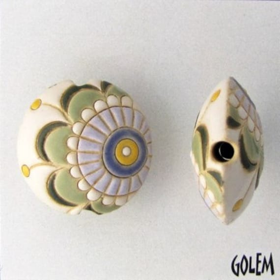 Cream, Greens, Periwinkle, Lentil Bead, Light Color Tone Paisley Flower  Round Lentil Ceramic Pendant Bead, Golem Design Studio Beads