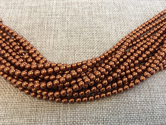 Copper Shiny 4mm Glass Pearls, 120 Pearls Per Strand