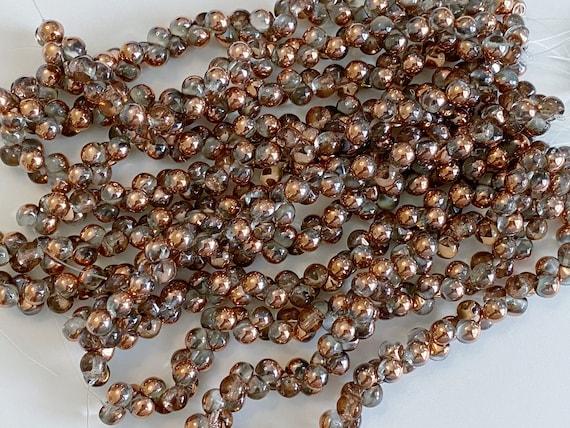 Crystal Gold Capri 6x5mm Mushroom Beads, 50 Beads Per Strand