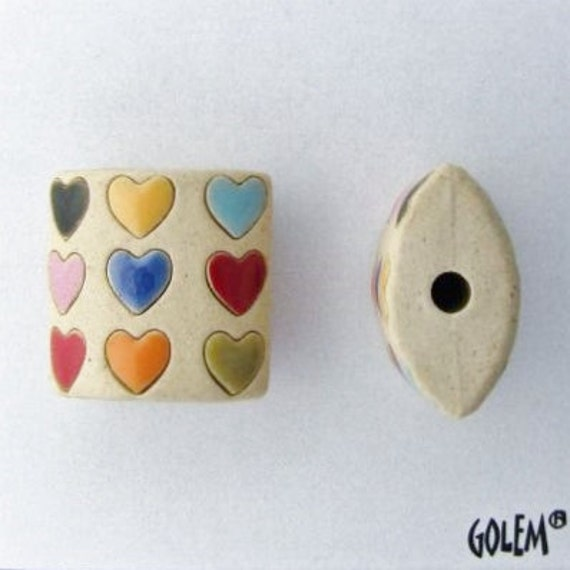 Hearts of Many Colors Pendant Bead, Golem Design Studio, Artisan Ceramic Pendants, Beads for Kumihimo