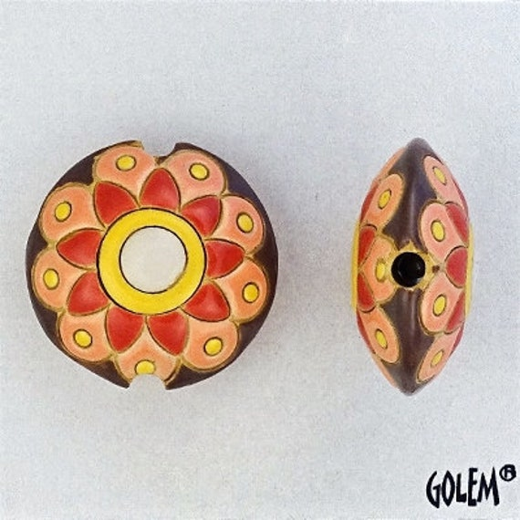 Flower Mandala Bead with Yellow and Shades of Coral, Small Lentil Pendant Bead, Hand Crafted Pendant Bead