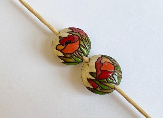 Poppy Field Ceramic Lentil Bead, Golem Design Studio Beads, Large Hole Beads For Kumihimo