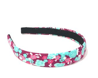 Spring / Summer Bright Floral Headband in Raspberry, pink, turquoise and white - Choose width from Skinny to Wide - Girls & Adult Headbands