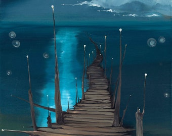 Dock to the Moon -- giclée print on paper.