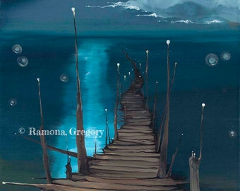 Dock to the Moon -- giclée print on canvas