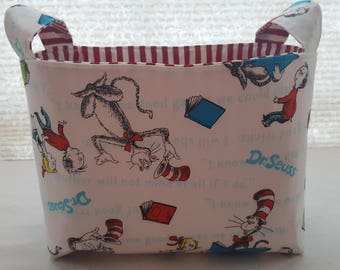 Fabric Organizer Basket Storage Bin Container Fabric  - The Cat in The Hat Dr Seuss = White