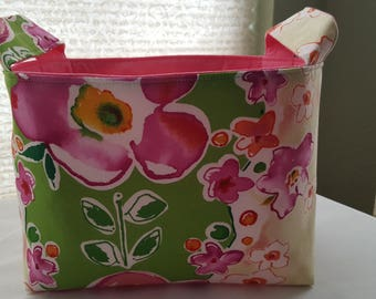 Storage Organizer Basket Bin Container Fabric - Floral Flowers Spring Bloom