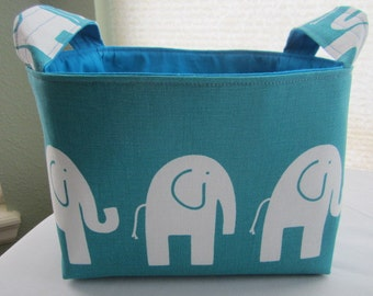 Organizer Storage Basket Bin Fabric -Turquoise Aqua with White Elephant